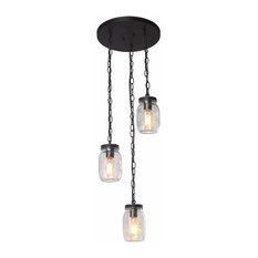 3 Light Spiral Chandelier,Glass Mason Jar Chain Ceiling Light Fixture