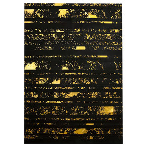 Patchwork Leather Striped Cowhide Rug, Black/Acid Gold, 140x200 cm