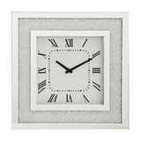 Square Mirrored Clock With Inlaid Small Crystal Style Frame, Silver