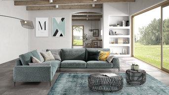 Exposición sofás estilo moderno