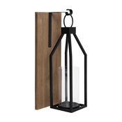 Oakly Wood and Metal Wall Sconce Candle Holder, Rustic Brown