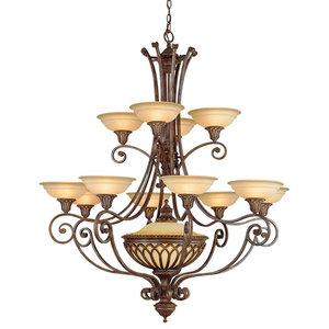 Luxury 12-Light Chandelier, British Bronze