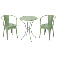 GDF Studio 3-Piece Leona Outdoor Paint Finished Iron Bistro Set, Matte Green