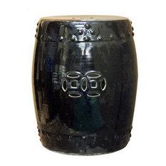 Oriental Double Coin Pattern Black Porcelain Round Stool cs2419