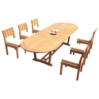 """7-Piece Outdoor Teak Dining Set: 117"""" Masc Oval Ext Table, 6 Vera Armless Chairs"""