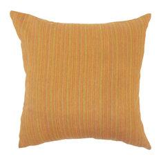 """Kaveri Striped Down Filled Throw Pillow, Orange, 20""""x20"""""""