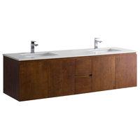 Vanity Adams 60 Double Sink With Quartz Stone, Chestnut, White Quartz Countertop