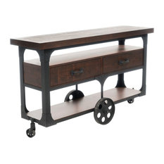 GDF Studio Chappellet Dark Brown Wood TV Console With Drawers