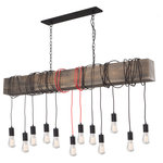 """Artcraft Lighting - Farmhouse AC11502RD Island Light, Matte Black - Inspired by rustic environments blended with a transitional twist, the Farmhouse collection features an authentic wood frame with black textile wires draping throughout. 60"""" length model shown but also available in a smaller 60"""" length. The authentic pine is hand stained and distressed. This chandelier is made in North America with pride. (Also available with black textile wiring).  (Shown with Edison filament bulbs - not included)"""