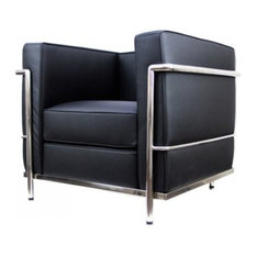 Serenity Living Stores   Le Corbusier LC2 Style ArmChair   Italian Leather,  Black   Armchairs