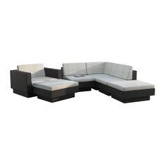 Sonax Park Terrace Textured Black 6-Piece Sectional Patio Set