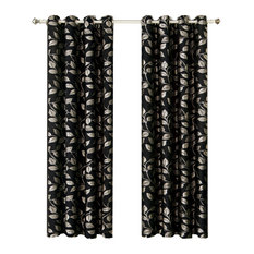 "Charlotte Jacquard Grommet Window Panels, Set of 2, Black, 104""x84"""