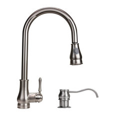 Modern Kitchen Brushed Nickel Pull-Out Faucet