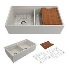 Bocchi - Sanikey USA Inc - Bocchi Contempo Apron Front Step Rim Biscuit 36-Inch Double Bowl Kitchen Sink - Kitchen Sinks