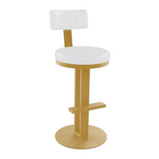 Round Swivel Stool Sun Gold Frame - Blizzard White Seat Counter