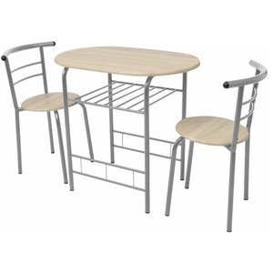 Modern Stylish Bar Set, Silver Metal Frame and MDF With Dining Table 2-Chair