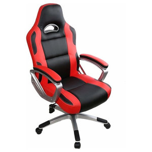 Modern Gaming Chair Upholstered, PU Leather With Extra Padded Seat, Red