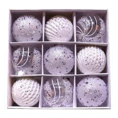 Christmas Ornaments, 9-Piece Set, White, Silver