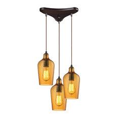elk hammered glass 3 light pendant in oil rubbed bronze and hammered amber amber pendant lighting