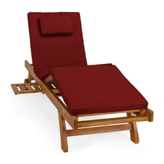 All Things Cedar Teak Multi-Position Chaise Lounger and Cushion, Red