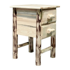Montana Log Collection Wood Nightstand With 2 Drawers In Ready To Finish MWN2DN