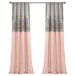 """TRIANGLE HOME FASHIONS - Night Sky Single Window Panel, Blush/Gray, 84""""x42"""" - This unique design features a rod pocket on both the top and bottom allowing the panel to be hung from either end.  Faux silk combined with sparkling sequins give this a modern look.  The lining on the back combines to provide extra privacy and insulation.  100% Polyester"""