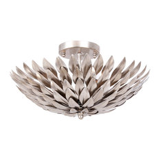 Crystorama Broche 4 Light Flush Mount In Antique Silver