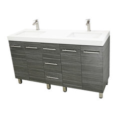 "60"" Free Standing Bathroom Double Vanity, Dark Gray, White Quartz Countertop"
