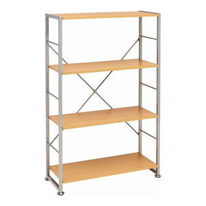 Display Storage Unit, MDF With Metal Frame and 3 Open Shelves, Beech