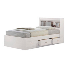 Hodedah Twin Captain Bed With 3-Drawers and Headboard, White