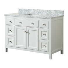 1st Avenue - Devon White Bathroom Vanity With Marble Top, 48'' - Bathroom Vanities and Sink Consoles