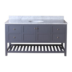 "Palmdale 61"" Single Bathroom Vanity, Gray With Marble Vanity Top"