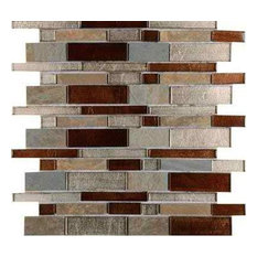 Urbano Blend Interlocking 12x12 Glass Stone Mesh-Mounted Mosaic Tile, Sample