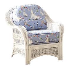 Regatta Arm Chair in White, Mint Fabric