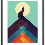 """Howling Wild Wolf"" Framed Print, Vector Black, 22""x22"" Medium Gallery"
