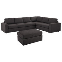 Bayside Modular Sectional Sofa with Ottoman in Dark Gray Linen