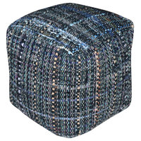 Kamil Recycled Fabric Artisan Cube Pouf, Gray