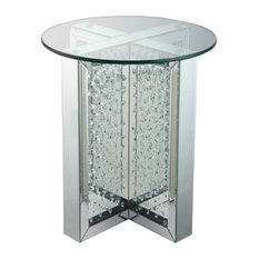 ACME Nysa End Table Mirrored And Faux Crystals