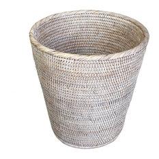 White Wash Rattan Waste Basket Round