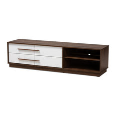 Kaila Mid-Century Modern Two-Tone White And Walnut 4-Drawer Wood TV Stand