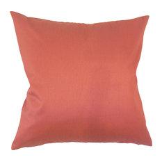 "Aditya Solid Down Filled Throw Pillow, Orange, 22""x22"""