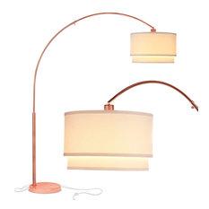 Brightech Mason - Arc Floor Lamp with Unique Hanging Drum Shade, Rose Gold