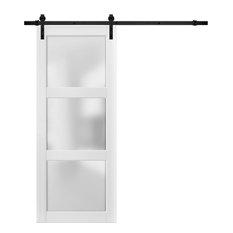 Sturdy Barn Door 24x80 Glass 3 Lites   Lucia 2552 Matte White   6.6FT Rail