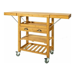 Modern Trolley Cart, Natural Bamboo Wood With 2 Folding Hinged Side Boards