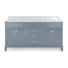"""Gina Contemporary 72"""" Wood Double Sink Bathroom Vanity With Marble Counter Top"""