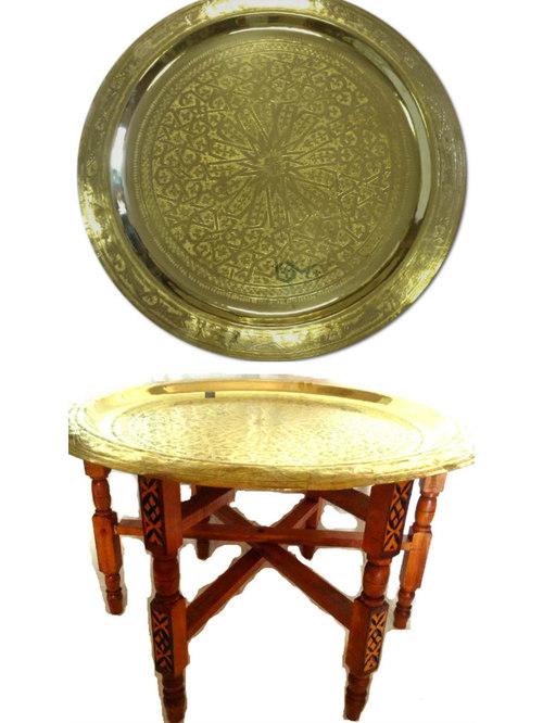 Moroccan Brass Tray Top Folding Tea Table