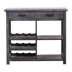 Hove Rustic Solid Wood 2 Drawer Black Buffet Table with Wine Rack