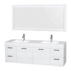 "72"" Double Bathroom Vanity With Mirror in Glossy White"