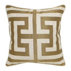 "Kosas - Carly Embroidered 22"" Throw Pillow by Kosas Home, Bronze - Decorative Pillows"