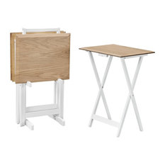 Linon Morris Wood Tray Table Set in Natural Brown